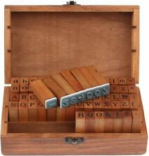 70Pcs/set Rubber Stamps Vintage Wooden Box Case Alphabet Letters Number Craft US