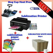Mug Cup Heat Press Machine + Sublimation Printer(With ink) + paper + White Mugs