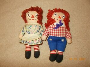 1970's Knickerbocker The Original Raggedy Ann and Andy 7 inch dolls used
