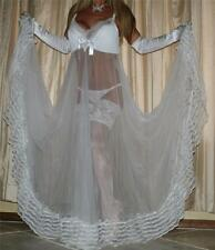 XL SHEER LACY WHITE VTG SWEEPING LINGERIE CHIFFON SLIP NEGLIGEE NIGHTGOWN