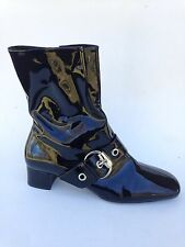 Franco Sarto Black buckle Go Go Boots Shoes Sz 7.5 womens Retro Vintage LikNew