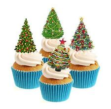 Novely Christmas Tree Collection 12 Edible Stand Up wafer paper cake toppers