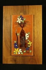 Edith Meyer Enamel Copper Cloisonne Style Art CAT Wood Frame Signed