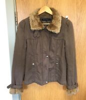 french connection Womens Size 8 Fur Collar Coat Jacket Quilted Padded Warm