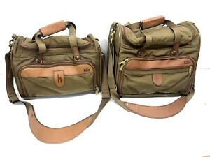 Vintage HARTMANN Nylon/ Leather Travel Luggage Overnight Bag/ Vanity ( Lot of 2)