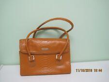 New listing Liz Claiborne mustard brown faux reptile polyvinyl flap over magnet close purse