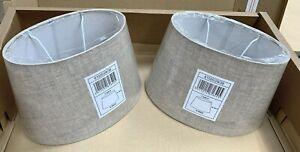 New Lucide X 2 Natural Oval Fabric Lamp Light Shades