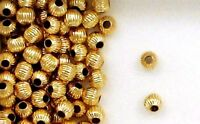 14k Gold Filled 4mm Corrugated Round Spacer Beads, Choice of Lot Size