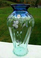 """Fenton Aqua to Cobalt Hand Painted Floral Vase 9.5""""H x 5.5""""W 1999 GORGEOUS"""