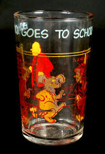 1971 ARCHIE COMIC DRINKING GLASS HOT DOG GOES TO SCHOOL 4-1/4 TALL