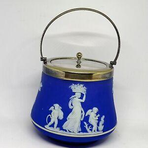 VINTAGE WEDGWOOD MADE IN ENGLAND DARK BLUE JASPERWARE BISCUIT BARREL