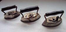 3 Antique SAD IRONS Flat Irons A-BEST-O No.602, DOVER No.912, SANDY ANDY No.22