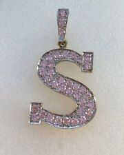 9ct Gold Pink Cubic Zirconia Initial S Pendant   4.6cm Drop inc Bale  5.9g   NEW