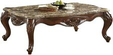 Acme Furniture Jardena Collection 58 in. Marble & Cherry Oak Coffee Table