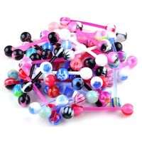 10PCS Wholesale Flexible Glow In Tongue Eyebrow Bar Rings Body Puncture Jewelry