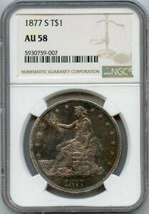 1877-S T$1 Trade Silver Dollar Coin NGC AU 58
