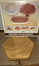 NEW VTG Folding Wood Octagon BOWL BASKET or Fold Flat For TRIVET Spiral Cut