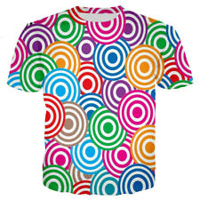 New Fashion Womens Mens Colorful Circles Funny Print 3D Casual T-Shirt Tops Tee