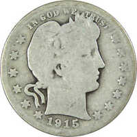 1915 Barber Quarter AG About Good 90% Silver 25c US Type Coin Collectible