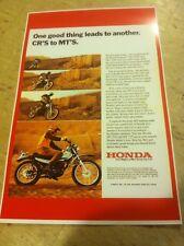 Vintage Honda Mt Cr Line 1974 Motorcycle Poster Advertisement Man Cave Gift