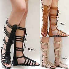 0bf7b1612128 New Women FSv3 Beige Tan Black Fringe Gladiator Knee High Tall Sandals