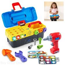 Power Tools for Kids Cordless Drill Construction Tool Box Set Play Hammer Learn