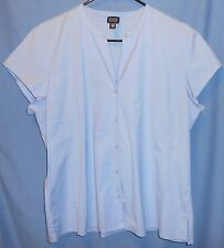 EILEEN FISHER Light Blue Mandarin Collar Button Front Cap Sleeve Shirt Top XL