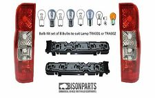 *FORD TRANSIT BACK REAR LIGHTS LAMPS CLEAR TYPE BULBS & HOLDERS MK6 / MK7 TRA501