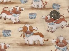 Fabric Baby Cows With Milk Carton on Tan Cotton by the 1/4 yard