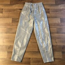 Vintage Wilson Leather Pants Womens Size 14 Pleated Silver Light Gray