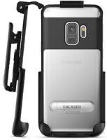 Samsung Galaxy Note 9 Clear Case w/Metal Kickstand and Belt Holder Clip (Black)