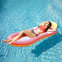 Swimming Inflatable Floating Float Water Hammock Pool Lounge Bed Chair Summer #