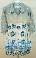 Island Paradise Hawaiian Shirt Palm Trees Beach Leaves Button Down Mens XL