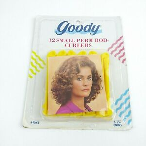 Goody 12 Small Perm Rod Curlers Waves Rollers Yellow Very Firm Curls VTG 90's