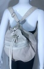 Gap Jeans Backpack Day Bag Carry All Loden Green & Beige 100% Cotton