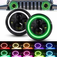 Pair 7'' LED Headlights Halo RGB Lamp Combo KIT For Jeep Wrangler JK 2007-2018