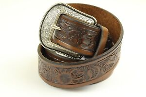 "3D Men's Belt Floral Embossed Brown Genuine Leather 1.5"" Width"