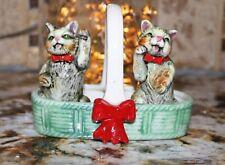 Vintage Tabby Cat w/ Red Bow in Ceramic Basket Salt Pepper Shakers  Japan  ~Old~