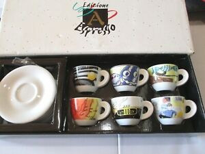 EDIZIONE ANCAP ESPRESSO ITALY Limited Edition Cups & Saucers Set of 6 NEW!
