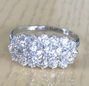 Quality 2.20ct Natural Old Cut Diamond Platinum Cluster Ring