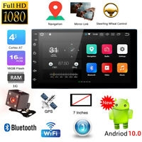 Android Double DIN 7'' Car Stereo GPS Sat Nav WiFi 4G Radio MP5 Player UP to 32G