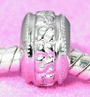 Solid 925 Sterling Silver SPACER BEAD For European Charm Bracelet / Necklace
