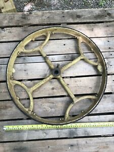 "Antique 22"" Parks Band Saw CAST IRON Wheels Steampunk Industrial What A Look!"