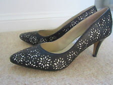 Clarks Shoes 6 E wide fit black and white lace pattern heels