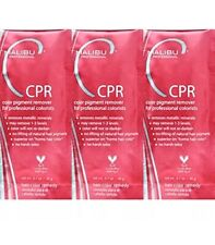 x3 Malibu C, CPR Hair Color Remover + 3 Processing Caps, Treatment Packets 20g