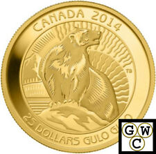2014 GOLD Wolverine-Untamed Canada Proof $25 Gold Coin 9999 Fine *No Tax (13865)