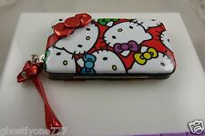 Hello Kitty cell phone wallet fits iphone 5 smart phone case ID wristlet red bow