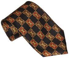 $285 NEW FENDI BLACK DARK RED ORANGE BROWN & GOLD 100% SMOOTH SILK TIE