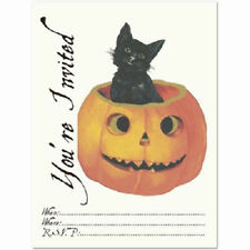 You'Re Invited Party Invitations Halloween Black Cat And Pumpkin Set Of 8 #Shk-9