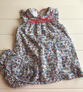 Baby Boden Girls Age 12-18 Months dress Floral Print & Frill matching pants